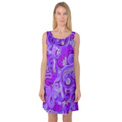 Lavender Swirls Sleeveless Satin Nightdresses