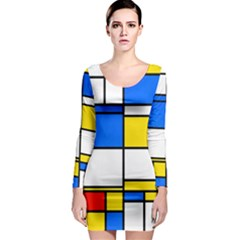 Colorful rectangles Long Sleeve Bodycon Dress