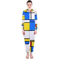 Colorful Rectangles Hooded Onepiece Jumpsuit
