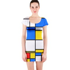 Colorful Rectangles Short Sleeve Bodycon Dress