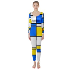 Colorful Rectangles  Long Sleeve Catsuit