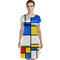 Colorful rectangles Cap Sleeve Nightdress