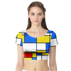 Colorful rectangles Short Sleeve Crop Top