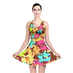Shapes In Retro Colors Reversible Skater Dress