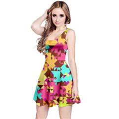 Shapes in retro colors Sleeveless Dress