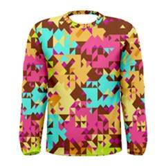 Shapes in retro colors Men Long Sleeve T-shirt