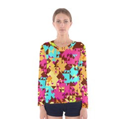 Shapes in retro colors Women Long Sleeve T-shirt