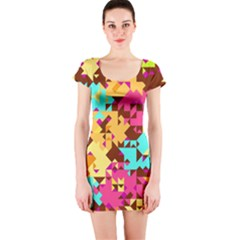 Shapes in retro colors Short sleeve Bodycon dress