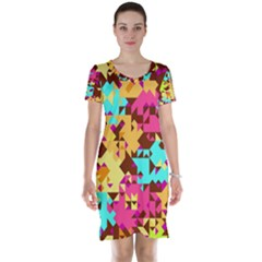 Shapes In Retro Colors Short Sleeve Nightdress