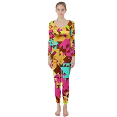 Shapes in retro colors  Long Sleeve Catsuit