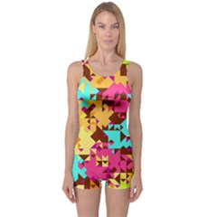 Shapes In Retro Colors Women s Boyleg One Piece Swimsuit