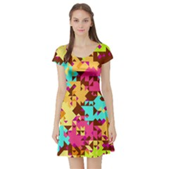 Shapes in retro colors Short Sleeve Skater Dress
