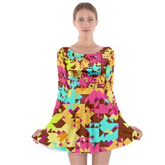 Shapes in retro colors Long Sleeve Skater Dress