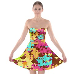 Shapes in retro colors Strapless Bra Top Dress