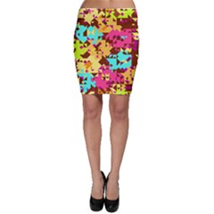 Shapes in retro colors Bodycon Skirt