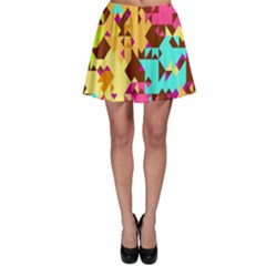 Shapes In Retro Colors Skater Skirt