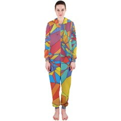 Colorful Miscellaneous Shapes Hooded Onepiece Jumpsuit
