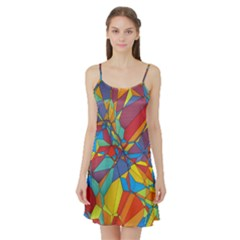 Colorful miscellaneous shapes Satin Night Slip