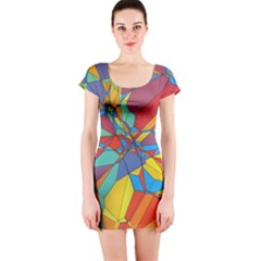 Colorful miscellaneous shapes Short sleeve Bodycon dress