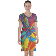 Colorful miscellaneous shapes Short Sleeve Nightdress