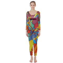 Colorful miscellaneous shapes  Long Sleeve Catsuit