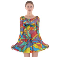 Colorful miscellaneous shapes Long Sleeve Skater Dress