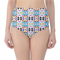 Colorful Dots Pattern High Waist Bikini Bottoms