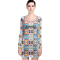 Colorful dots pattern Long Sleeve Bodycon Dress