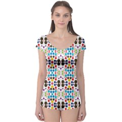 Colorful Dots Pattern Short Sleeve Leotard