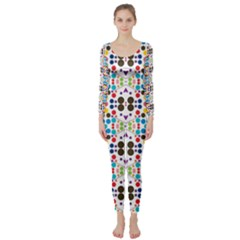 Colorful dots pattern  Long Sleeve Catsuit