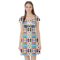Colorful Dots Pattern Short Sleeve Skater Dress