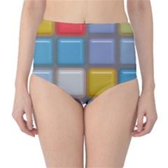 Shiny Squares Pattern High Waist Bikini Bottoms