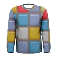 Shiny Squares Pattern Men Long Sleeve T Shirt