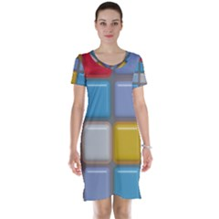 Shiny Squares pattern Short Sleeve Nightdress