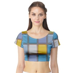Shiny Squares pattern Short Sleeve Crop Top