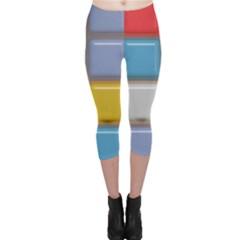 Shiny Squares pattern Capri Leggings