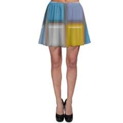 Shiny Squares Pattern Skater Skirt
