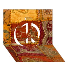 India Print Realism Fabric Art Peace Sign 3d Greeting Card (7x5)