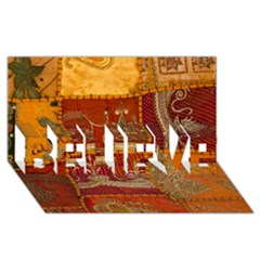 India Print Realism Fabric Art BELIEVE 3D Greeting Card (8x4)