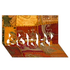 India Print Realism Fabric Art SORRY 3D Greeting Card (8x4)