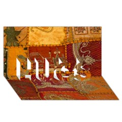 India Print Realism Fabric Art HUGS 3D Greeting Card (8x4)