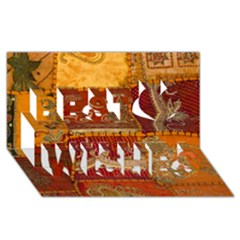 India Print Realism Fabric Art Best Wish 3D Greeting Card (8x4)
