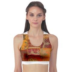 India Print Realism Fabric Art Sports Bra