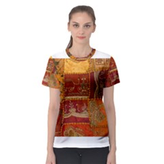 India Print Realism Fabric Art Women s Sport Mesh Tees