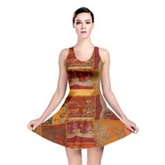 India Print Realism Fabric Art Reversible Skater Dresses