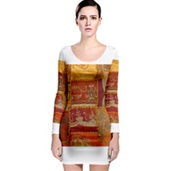 India Print Realism Fabric Art Long Sleeve Bodycon Dresses