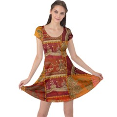India Print Realism Fabric Art Cap Sleeve Dresses