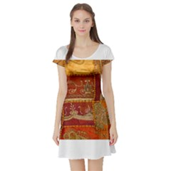 India Print Realism Fabric Art Short Sleeve Skater Dresses