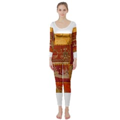 India Print Realism Fabric Art Long Sleeve Catsuit