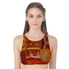 India Print Realism Fabric Art Tank Bikini Top
